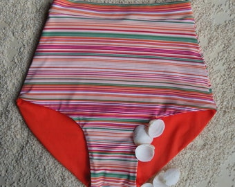 High waisted bikini bottom/ striped bikini bottom/ retro bikini bottom/ mix and match bikini bottom size xs-xl.