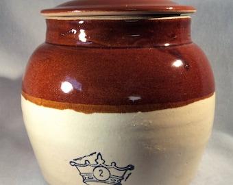 Vintage USA 2 Qrt Stoneware Lidded Bean Pot - One Handle - Blue Crown Mark