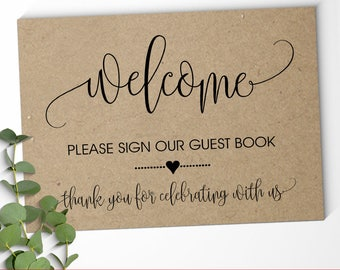 Wedding Guest Book Sign welcome Guest Book Sign Our Guest Book, Ceremony Reception Signage printable KRAFT sign Instant download SG08 D101