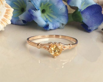 20% off-SALE!! Citrine ring - Genuine Gemstone  - November Birthstone - Tiny Ring - Gold Ring - Solitaire Ring - Minimalist Ring