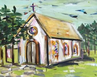 "Church print, Modern art, ""Church in the Woods"" paper or canvas"