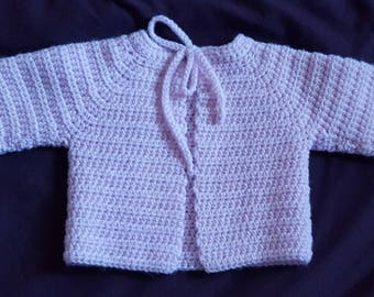 Hand crochet childs matinee jacket in pink, size 19 inch