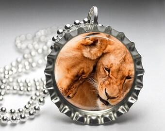 Lion Safari Jewelry Bottlecap Pendant Necklace Jewellery - Free Ball Chain