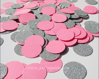 Bubble Gum Pink, Silver Glitter, Girl's Birthday, Party Confetti, Sweet Sixteen, Baby Shower Decorations, Princess Dessert Table, 200 Pieces