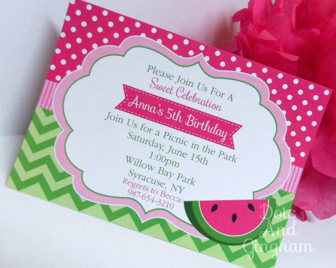 Watermelon Invitation Pink Watermelon Birthday Invitation