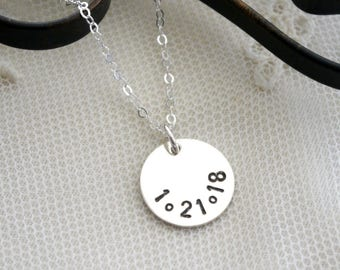 Date Necklace, Anniversary Date Necklace, Special Date Necklace, Sterling Silver, Simple, Everyday, Dainty, Coin Necklace, Disc Necklace