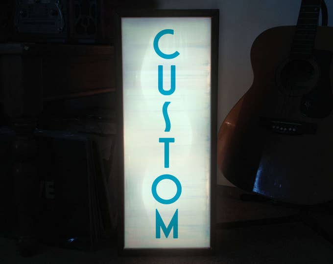 Art Deco Vertical Custom LED Light Box Sign