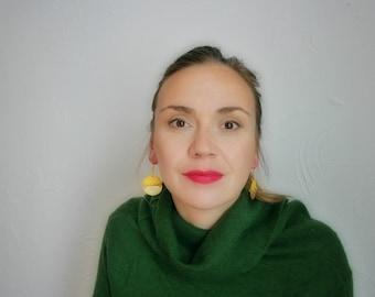Yellow earrings, Geometric earrings, Gold earrings, Boho earrings, Polymer clay earrings, Statement earrings, girlfriend gift, Big earrings