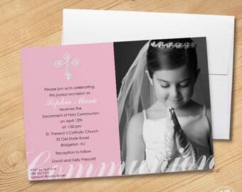 Girl's First Communion Invitations, Photo Communion Invitations, First Holy Communion Invitations, Communion invitations for Girls