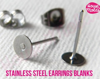 Stainless Steel Studs Earrings Blanks 5 mm diameter, with Backs included-Rounded flat backs easy to glue on or embed
