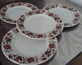 4 Retro Dinner Plates H.Aynsley