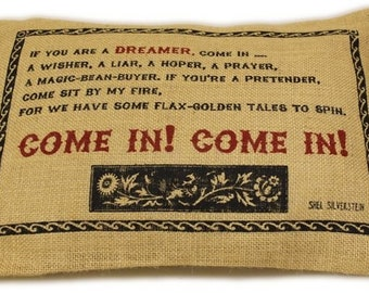 """Jute Pillow Cover 38 x 25 cm """"Come in"""""""