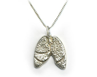 BREATH - Anatomical Lungs Necklace in cast sterling silver by medical artist Beth Croce