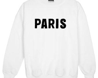 Paris Sweater Jumper Womens Ladies Fun Tumblr Hipster Swag Fashion Grunge Kale Punk Retro Vtg Top Slogan Unicorn Goth City French Blogger