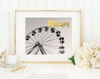 Ferris Wheel Art, Ferris Wheel Print, Dream Print, Faux Gold Foil, Gold Art Print, Nursery Decor, Home Office Wall Art Decor, Gold Wall Art