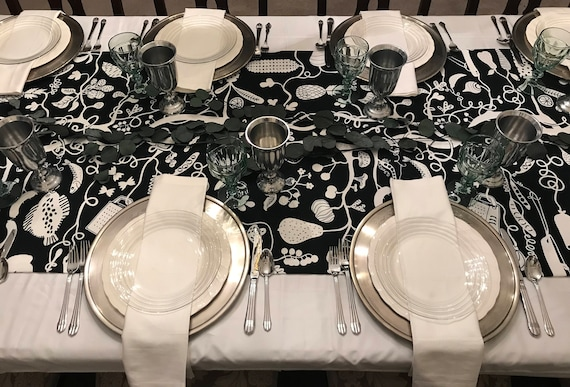 Extra Wide Black & White Coloring Book Table Runner, Interactive Table Runner, Harvest Table Runner, Holiday Table Runner, Coloring Book