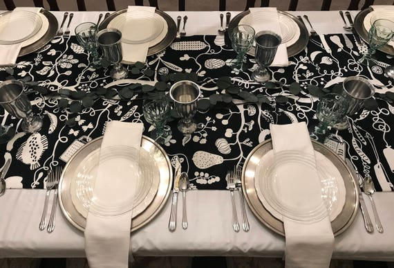 Extra Wide Black U0026 White Coloring Book Table Runner, Interactive Table  Runner, Harvest Table