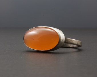Orange Chalcedony Cabochon Ring - Oxidized Sterling Silver - Bezel Set Oval Gemstone Ring - Size 8.25 - One of a Kind - Artisan Metalsmith
