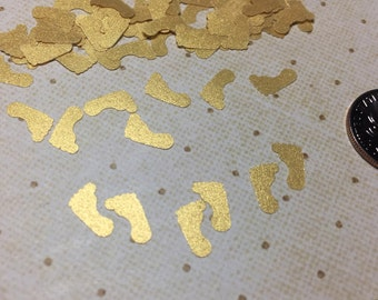 Baby Shower Gold Footprints Confetti. Baby Shower Decorations For Girls. 100 Mini Gold Metallic Footprints. Confetti Baby Shower.