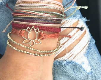 Lotus Flower Adjustable Friendship Bracelet, Layering Bracelets, Stacking Bracelets, Stackable Bracelets