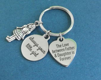 Girl, The love between Father & Daughter is Forever, always your little girl, Heart, Love, Keyring, Gift, Jewelry, Accessories