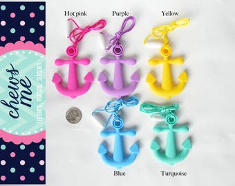silicone sensory necklace anchor teething necklace nursing necklace teether chew chewelry music instrument Autism ADHD Aspergers nautical