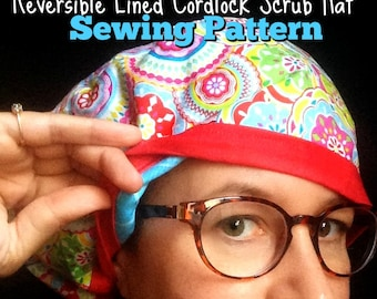 Scrub Hat Sewing Pattern Tutorial diy Reversible Fully Lined Surgical Scrub  Cap Instructions with Adjustable DOWNLOAD ONLY #dbap006