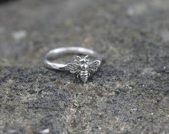 Honey Bee Sterling Silver Ring, Solid Silver Nature Jewelry, .925 Apiary Stacking Ring, Gift for Her