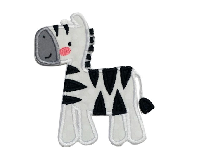 Black and white boxy zebra machine embroidered heat press iron on patch for kids clothing, quick shipping appliques