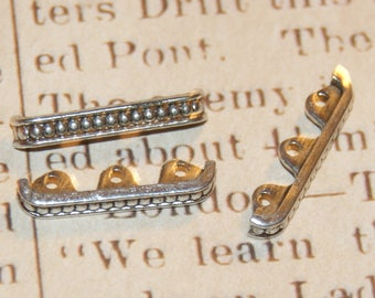 long 3 dividers with dots embossed silver-plated 24x4mm