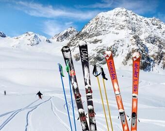 Skiing Personalized Wedding Gift Winter Ski Snow Customized Names Photo Romantic AAnniversary Gift Invitation pp132