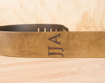 Guitar Strap - Personalized Leather Guitar Strap with Monogram in Antique Brown - For Acoustic or Electric Guitars