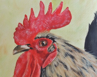 Big Jake Rooster painting reproduction aceo