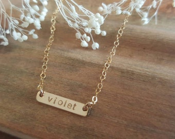 Kids bar necklace / handstamped / personalized/ baby gift / custom jewelry / simple / gold filled
