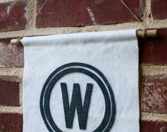Custom Monogrammed Wall Banner- Wool Felt