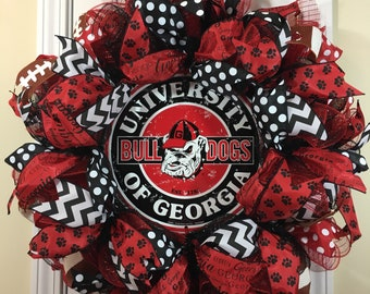 Georgia Bulldogs wreath, UGA wreath, University of Georgia wreath, Dawgs wreath, GA wreath, Wreath for front door