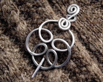 Celtic Knot Swirling Flower Shawl Pin, Aluminum Scarf Pin, Sweater Fastener, Closure, Brooch, Women Accessories, Knitting Gifts for Knitters