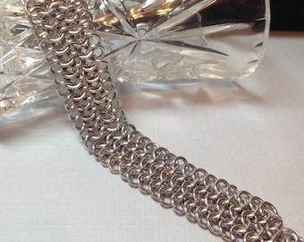 Chainmaille Bracelet- Silvertone- European 4 in 1 Weave