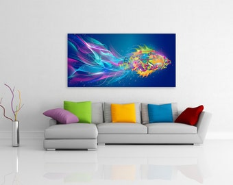 Abstract Goldfish - Animal Canvas Print Wall Art / Stretched or Rolled / Available in 1, 3, and 5 Panel Versions