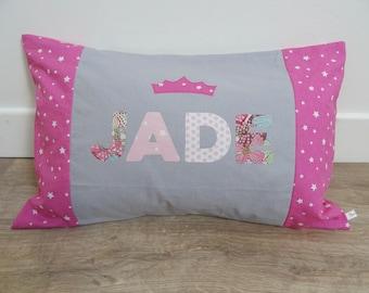 Girl Pink and gray name cushion