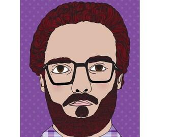 Bearded Man Card - Purple