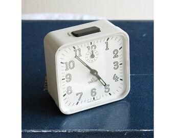 Vintage large wind up alarm clock German Peter clock Retro desk clock Mechanical white table clock Back to school Office desk decor