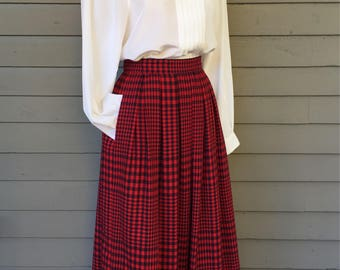 "Red and Navy Plaid Pleated Skirt with Pockets by Liz Claiborne Size XS 24"" Waist Midi Length Below the Knee"