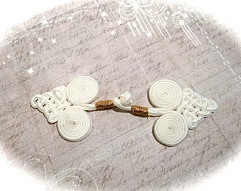 White Frog Closure Braided Frog Sewing Trims Oriental Costume BA-209