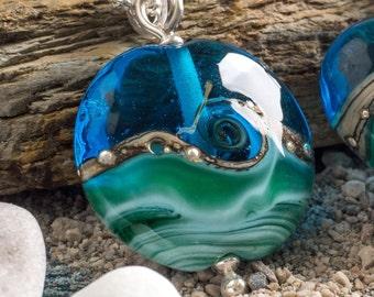 Deep Blue Sea Lentil Pendant, handmade glass bead pendant, by Beach Art Glass in the UK