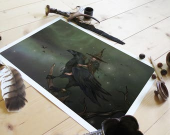 Print - Munin & Brumaire, Raven and witch-spirit of autumn