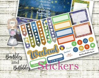 VanGogh Artist weekly planner kit, planning, classic happy planner, impressionism, classic art, starry night painting