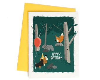 Sweet Birthday Card for Friend, Fox and Hound Dog Birthday Greeting Card Set