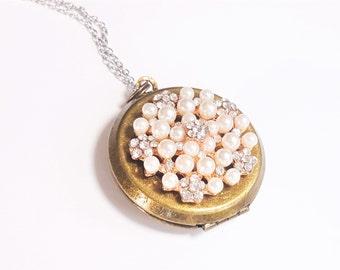 Vintage Rhinestone Locket Necklace - Mixed Metal Necklace - Bridesmaid Locket - Wedding Locket - Locket Gift - Silver Necklace - Bridesmaid