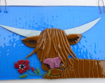 Highland cow, fused glass art picture